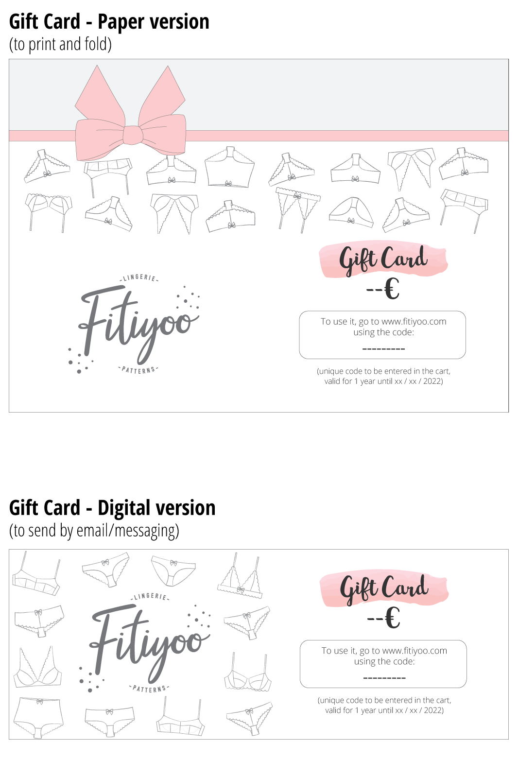 gift card sewing lingerie Valentine's day